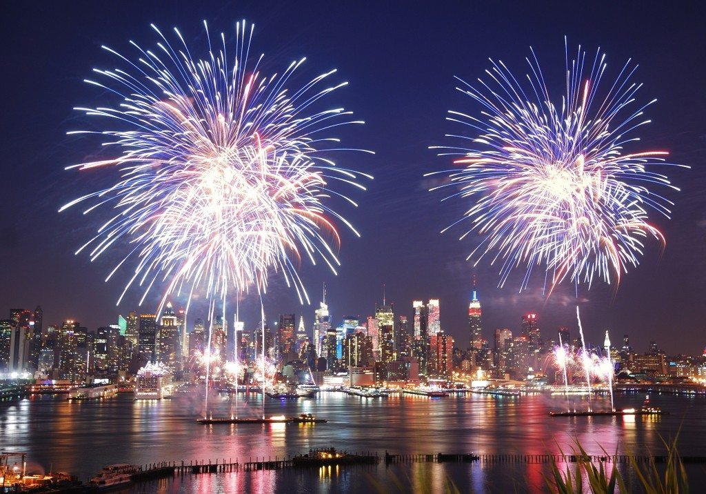 Fireworks from a yacht charter in NYC